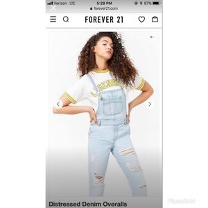 NWT 🔥 Forever 21 distressed jean overalls